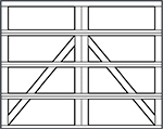 carriage house steel garage door design - 4 rows bottom arrow
