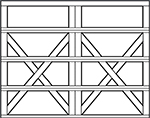 carriage house steel garage door design - 4 rows 2 x on bottom 3 rows