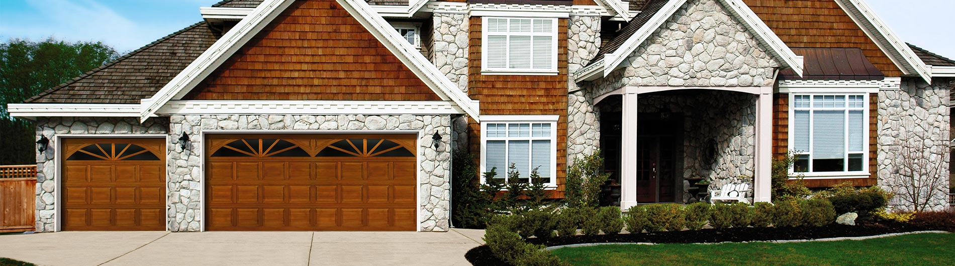 wood garage door sunray windows