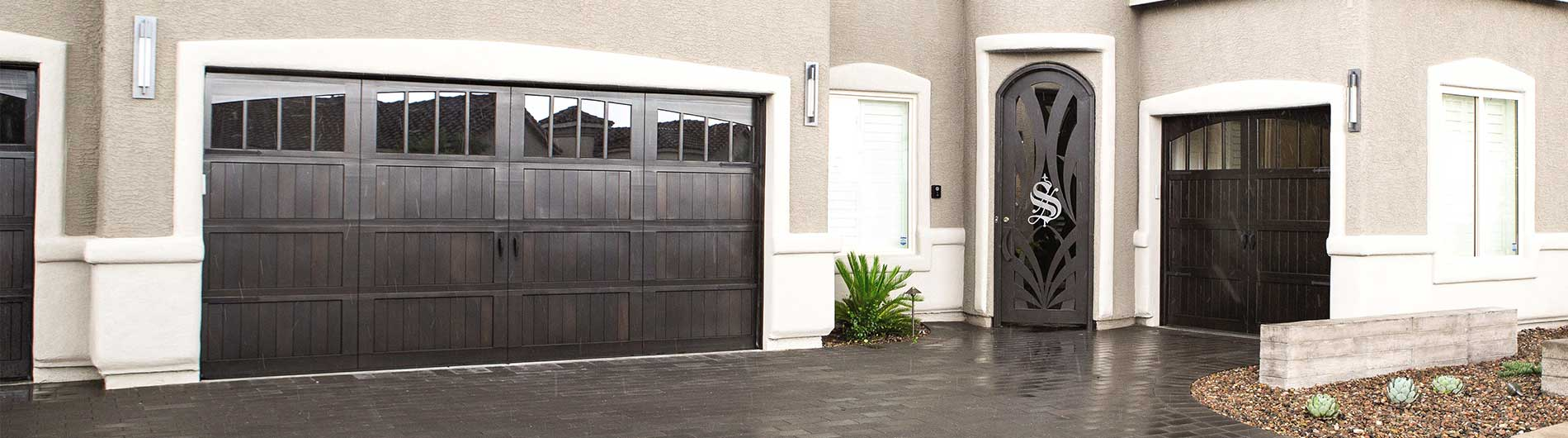 dark stain Wood Garage Doors
