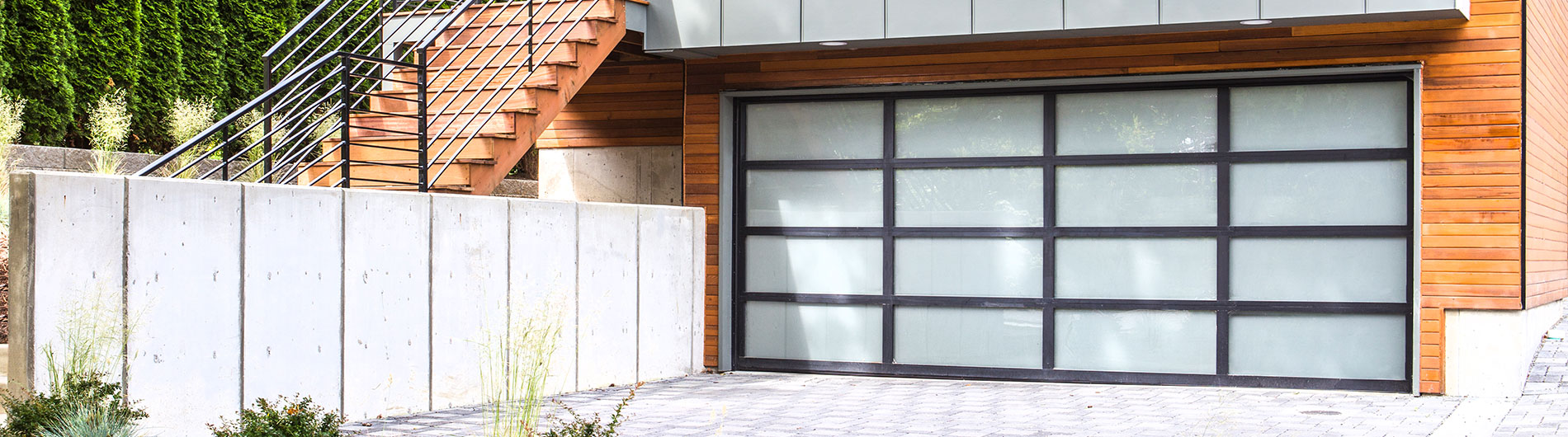 glass garage doors. Model 8800, Black Anodized Aluminum, White Laminated Glass Garage Doors