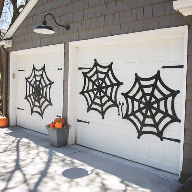 Spider Webs on a Garage Door