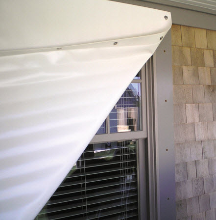 fabric shield covering window