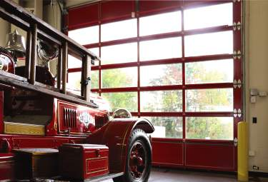 glass and aluminum door - fire station