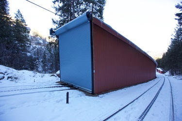 rolling door on train track