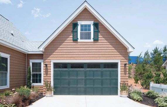 dark green garage door